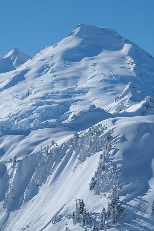 Mount Baker in winter seen from Artist Point on Kulshan Ridge. North Cascades