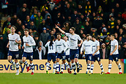 Preston North End striker Tom Barkhuizen (29) scores and celebrates Preston North End defender Paul Huntington (23)  celebrates during the EFL Sky Bet Championship match between Norwich City and Preston North End at Carrow Road, Norwich, England on 25 November 2017. Photo by Phil Chaplin.