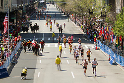 runners on final stretch at Boston Marathon