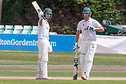 150 - Ben Slater acknowledges his team mates on reaching 150 during the Bob Willis Trophy match between Lancashire County Cricket Club and Leicestershire County Cricket Club at Blackfinch New Road, Worcester, United Kingdom on 3 August 2020.