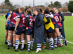 A muted Bristol Bears Women team huddle after defeat to Gloucester-Hartpury Women - 2019 - RUGBY - Shaftesbury Park - Bristol, England - Bristol Bears Women v Gloucester-Hartpury Women - Tyrrells Premier 15s