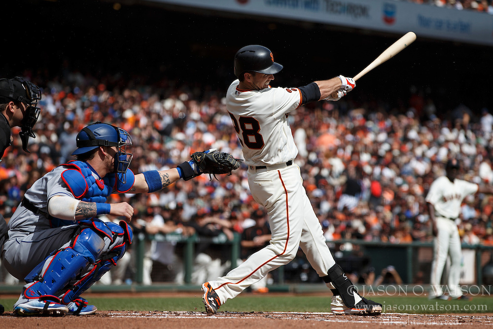 SAN FRANCISCO, CA - OCTOBER 02: Buster Posey #28 of the San Francisco Giants hits a two run single against the Los Angeles Dodgers during the first inning at AT&T Park on October 2, 2016 in San Francisco, California. The San Francisco Giants defeated the Los Angeles Dodgers 7-1. (Photo by Jason O. Watson/Getty Images) *** Local Caption *** Buster Posey