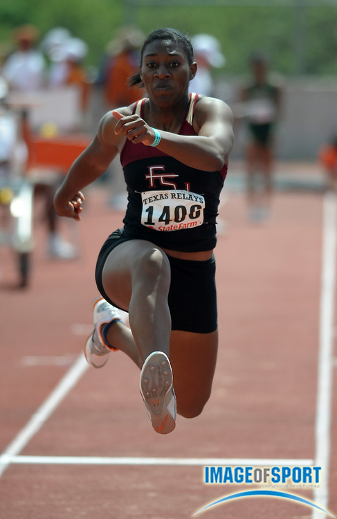 Mar 30, 2012; Austin, TX, USA; Michelle Jenije of Florida State wins the womens triple jump in a wind-aided 44-2 1/2 (13./47m) in the 85th Clyde Littlefield Texas Relays at Mike A. Myers Stadium.