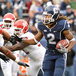 Oct 31, 2009; East Hartford, CT, USA; Connecticut running back Andre Dixon (2) runs around the corner during second half Big East NCAA football action in Rutgers' 28-24 victory over Connecticut at Rentschler Field.