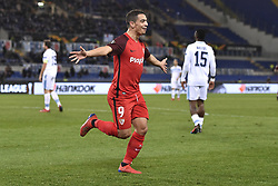 February 14, 2019 - Rome, Rome, Italy - Wissam Ben Yedder of Sevilla celebrates scoring first goal during the UEFA Europa League round of 32 match between Lazio and Sevilla at Stadio Olimpico, Rome, Italy on 14 February 2019. (Credit Image: © Giuseppe Maffia/NurPhoto via ZUMA Press)