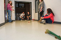 CO2 Drag Racing with Jo-Anne Gilbert's Everyday Science students at Laconia Academy.  Karen Bobotas for the Laconia Daily Sun