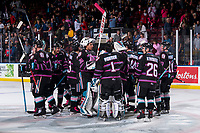 KELOWNA, BC - SEPTEMBER 21:  The Kelowna Rockets celebrate the OT win against the Spokane Chiefs  at Prospera Place on September 21, 2019 in Kelowna, Canada. (Photo by Marissa Baecker/Shoot the Breeze)