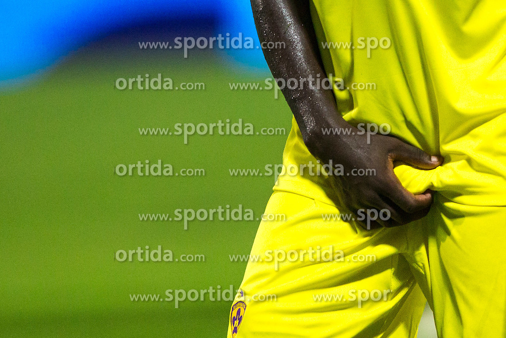 Protecting men balls with hand during football match between ND Gorica and NK Maribor at NZS Super Cup of Liga Telekom Slovenije 2014/15, on August 13, 2014 in Sportni Park Nova Gorica, Nova Gorica, Slovenia. Photo by Matic Klansek Velej / Sportida.com