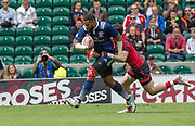 Twickenham, Surrey United Kingdom. USA's, Andrew DURUTALO, running in to touch down, during the Pool A game USA vs Waleas at the  &quot;2017 HSBC London Rugby Sevens&quot;,  Saturday 20/05/2017 RFU. Twickenham Stadium, England    <br /> <br /> [Mandatory Credit Peter SPURRIER/Intersport Images]