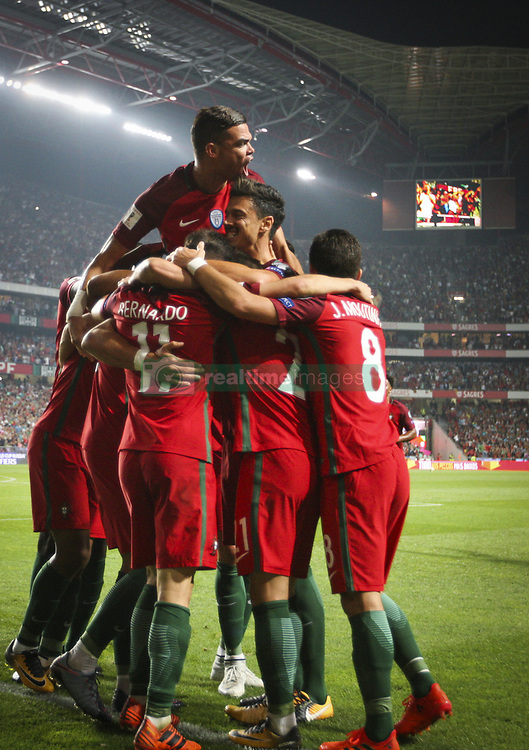 October 10, 2017 - Na - Lisbon, 10/10/2017 - The Portuguese football team received their Swiss counterpart tonight in the last game of the group stage to qualify for the 2018 FIFA World Cup in Russia , next June. André Silva celebrates after scoring the 2-0. Pepe  (Credit Image: © Atlantico Press via ZUMA Wire)