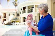 Grandparent with Grandkid at pool