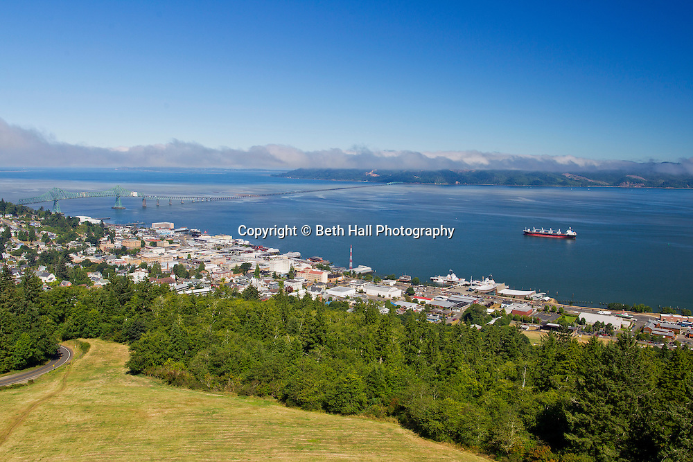 Scenic view of Astoria, Oregon from the observation deck of the Astoria Column in August of 2013.