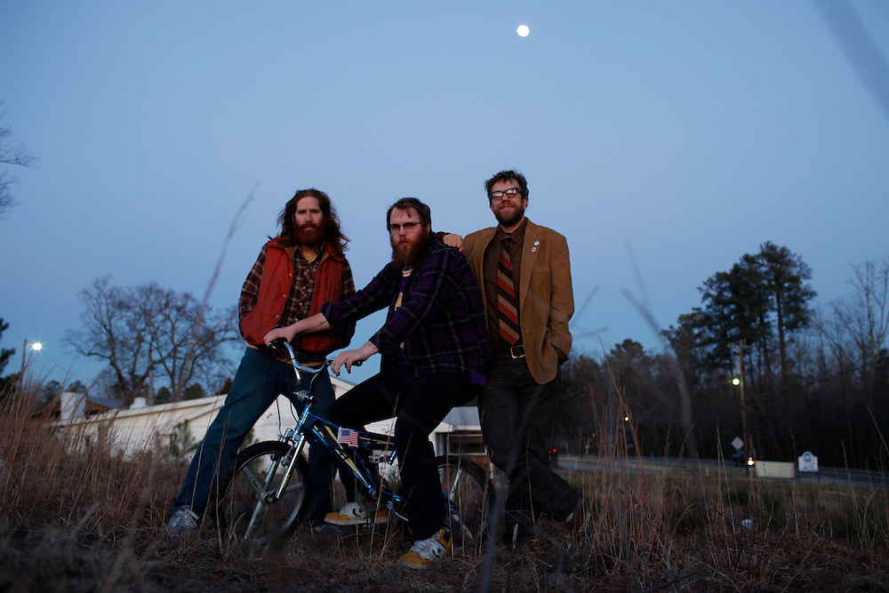 Megafaun (Brad Cook, Phil Cook, Joe Westerlund) promotional photo, February 2010, Durham, North Carolina.