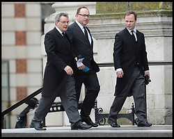Present day No10 Staff , Ltor Stephen Gilbert, Andrew Cooper, David Cameron's spin Dr Craig Oliver attend Lady Thatcher's funeral at St Paul's Cathedral following her death last week, London, UK, Wednesday 17 April, 2013, Photo by: Andrew Parsons / i-Images