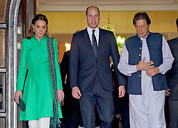 The Duke and Duchess of Cambridge with the Prime Minister of Pakistan Imran Khan (right) following a meeting at his official residence in Islamabad during the second day of the royal visit.