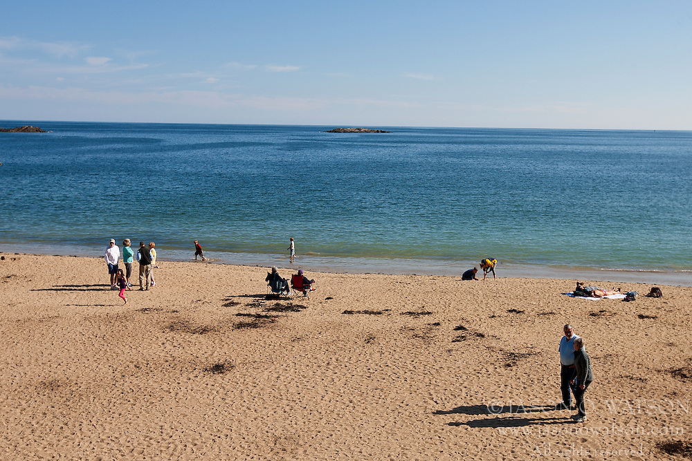 Sand Beach with people on shore, Acadia National Park, Maine, United States of America
