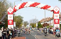 Women's elite race passes a mile marker<br /> The Virgin Money London Marathon 2014<br /> 13 April 2014<br /> Photo: Jed Leicester/Virgin Money London Marathon<br /> media@london-marathon.co.uk