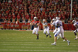 20 September 2008: Kevin Brockway looks to pass after flushing from the pocket during Illinois State Redbirds home opener lose to the #20 ranked Eastern Illinois Panthers at Hancock Stadium on the campus of Illinois State University in Normal Illinois. Final score was 25-21.