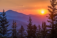 Sunset on top of Aspen Mountain in Aspen, Colorado.