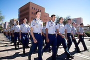 Participants in a high school ROTC program march in the Veterans Day Parade, which honors American military veterans, in Tucson, Arizona, USA.