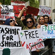 Kashmiris protest India terrorists and Indian army occupation revoke article 370