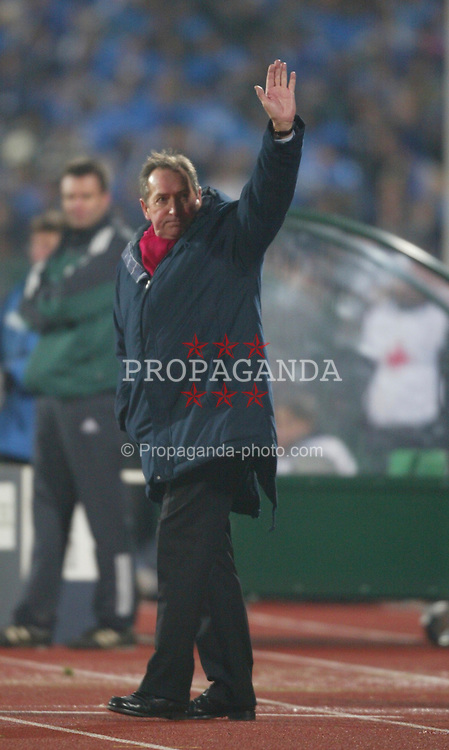 SOFIA, BULGARIA - Wednesday, March 3, 2004: Liverpool's manager Ge?rard Houllier against Levski Sofia during the UEFA Cup 4th Round 2nd Leg match at the Vasil Levski Stadium. (Pic by David Rawcliffe/Propaganda)