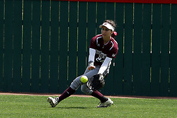 22 April 2017:  Erika Velasquez Zimmer charges in to get a ground ball that went to the outfiled during a Missouri Valley Conference (MVC) women's softball game between the Missouri State Bears and the Illinois State Redbirds on Marian Kneer Field in Normal IL