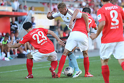 20.07.2013, Coface Arena, Mainz, GER, Testspiel, 1. FSV Mainz 05 vs West Ham United, im Bild Shinji Okazaki (Mainz) und Christoph Moritz (Mainz) beim gemeinsamen Einsatz gegen einen Wet Ham United Spieler,,  // during the Friendly Match between 1. FSV Mainz 05 and West Ham United at the Coface Arena, Mainz, Germany on 2013/07/20. EXPA Pictures © 2013, PhotoCredit: EXPA/ Eibner/ Bildpressehaus<br /> <br /> ***** ATTENTION - OUT OF GER *****