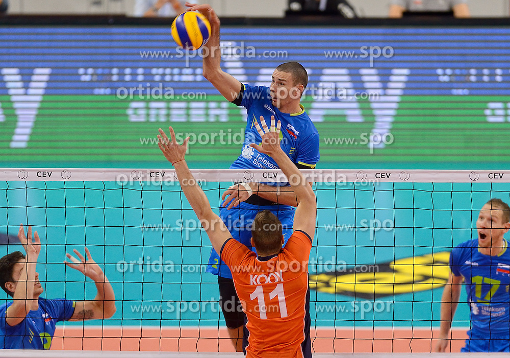 Alen Pajenk #2 during volleyball match between National teams of Netherlands and Slovenia in Playoff of 2015 CEV Volleyball European Championship - Men, on October 13, 2015 in Arena Armeec, Sofia, Bulgaria. Photo by Ronald Hoogendoorn / Sportida