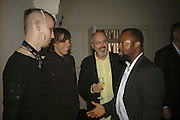 Blake Viola, Andrei Viola, Bill Viola and Ben Okri,  VIP opening of Bill Viola exhibition Love/Death: The Tristan project. Haunch of Venison, St Olave's College, Tooley St. London and Dinner afterwards at Banqueting House. Whitehall. 19 June 2006. ONE TIME USE ONLY - DO NOT ARCHIVE  © Copyright Photograph by Dafydd Jones 66 Stockwell Park Rd. London SW9 0DA Tel 020 7733 0108 www.dafjones.com
