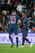 Moussa DIABY (PSG) scored a goal and celebrated it with Julian Draxler (PSG) during the French Championship Ligue 1 football match between Paris Saint-Germain and AS Saint-Etienne on September 14, 2018 at Parc des Princes stadium in Paris, France - Photo Stephane Allaman / ProSportsImages / DPPI