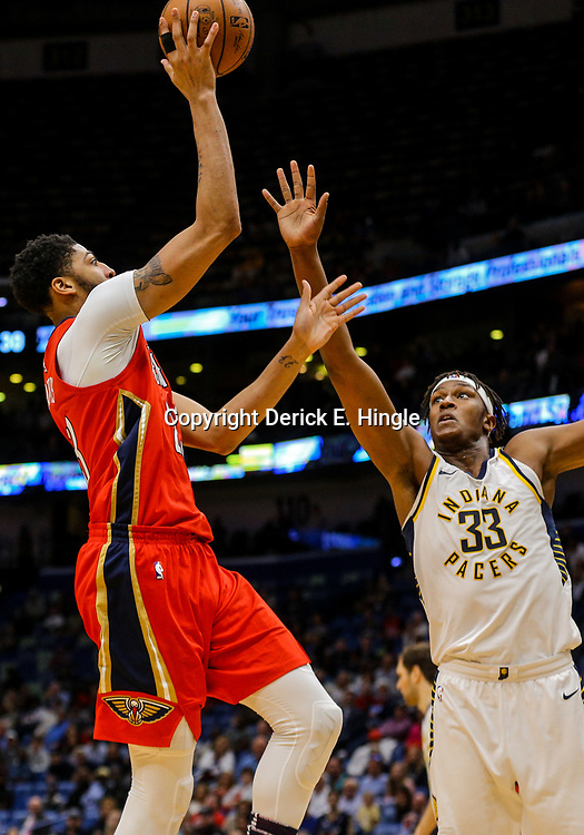 Mar 21, 2018; New Orleans, LA, USA; New Orleans Pelicans forward Anthony Davis (23) shoots over Indiana Pacers center Myles Turner (33) during the second half at the Smoothie King Center. The Pelicans defeated the Pacers 96-92. Mandatory Credit: Derick E. Hingle-USA TODAY Sports