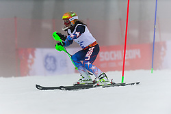 Danelle Umstead competing in the Alpine Skiing Super Combined Slalom at the 2014 Sochi Winter Paralympic Games, Russia