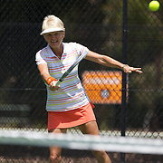 Kerry Ballard, Australia, in action in the 60 Womens Singles during the 2009 ITF Super-Seniors World Team and Individual Championships at Perth, Western Australia, between 2-15th November, 2009.