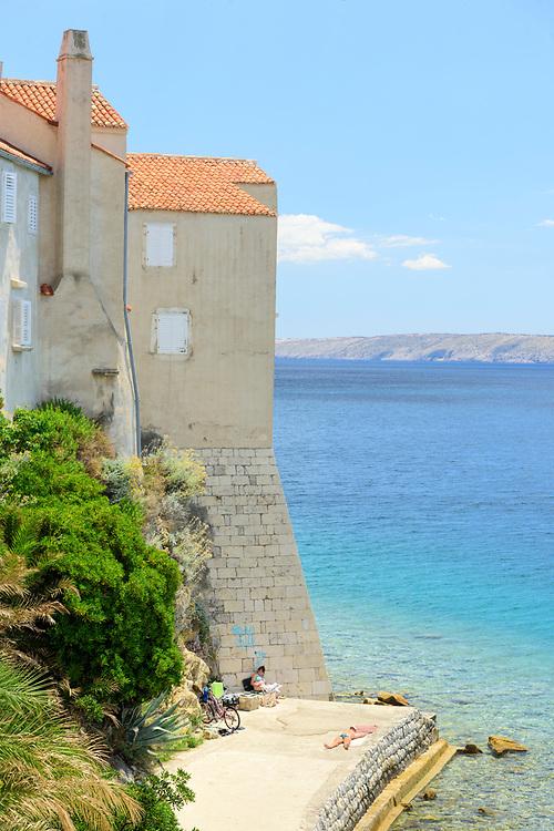 Europe, Balkan, Croatia, Rab, edge of the adriatic sea in Rab