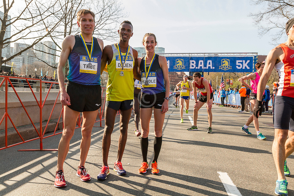 BAA 5K, winners Dejen Gebremeskel, Molly Huddle and runner up Ben True