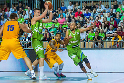 Alen Omic and Nebojsa Joksimovic of Slovenia vs Jerom Randel of Ukraine during friendly basketball match between National teams of Slovenia and Ukraineat day 1 of Adecco Cup 2015, on August 21 in Koper, Slovenia. Photo by Grega Valancic / Sportida
