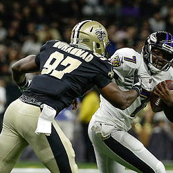 Aug 31, 2017; New Orleans, LA, USA; New Orleans Saints defensive end Al-Quadin Muhammad (97) sacks and forces a fumble from Baltimore Ravens quarterback Thaddeus Lewis (7)  during the first half of a preseason game at the Mercedes-Benz Superdome. Mandatory Credit: Derick E. Hingle-USA TODAY Sports
