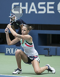August 31, 2017 - Flushing Meadows, New York, U.S - Karolina Pliskova during her match on Day Four of the 2017 US Open with Nicole Gibbs at the USTA Billie Jean King National Tennis Center on Thursday August 31, 2017 in the Flushing neighborhood of the Queens borough of New York City. Pliskova defeats Gibbs, 2-6, 6-3, 6-4. (Credit Image: © Prensa Internacional via ZUMA Wire)