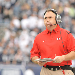 Oct 31, 2009; East Hartford, CT, USA; Rutgers co-offensive coordinator reacts to a three and out drive by his offense late during second half Big East NCAA football action in Rutgers' 28-24 victory over Connecticut at Rentschler Field.