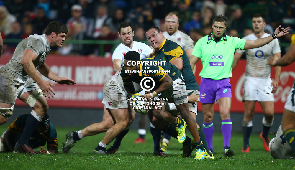 "George, SOUTH AFRICA, 17,June, 2016 - Lukhanyo Am of South Africa A during the South Africa ""A"" v England Saxons - 2nd match,Outeniqua Park in George,Southern Cape  South Africa (Photo by Steve Haag) - Images for Getty Images  - England Saxons."