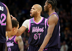 January 11, 2019 - Minneapolis, MN, USA - The Minnesota Timberwolves' Taj Gibson lets a referee hear about a call he didn't like that brought a technical foul during the second half against the Dallas Mavericks on Friday, Jan. 11, 2019, at the Target Center in Minneapolis. The Mavs won, 119-115. (Credit Image: © David Joles/Minneapolis Star Tribune/TNS via ZUMA Wire)