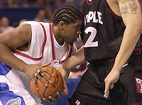 Udonis Haslem and the UF front court are stopped by Temple in a 75-64 loss in the men's 2001 NCAA Basketball Tournament in New Orleans, La.
