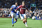 Aston Villa midfielder Jack Grealish (10) looks to release the ball  during the EFL Sky Bet Championship match between Birmingham City and Aston Villa at St Andrews, Birmingham, England on 10 March 2019.