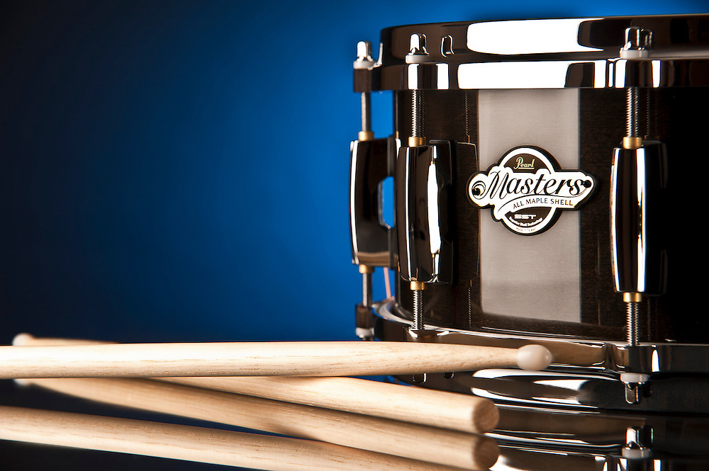 Pearl Master Custom Snare Drum in Boca Raton, Florida.  Product Photography by Jeffrey A McDonald