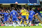 Scunthorpe's Hakeeb Adelakun heads the ball during the The FA Cup third round match between Chelsea and Scunthorpe United at Stamford Bridge, London, England on 10 January 2016. Photo by Shane Healey.