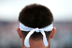 A detailed view of the headband of Argentina's Leonardo Mayer's during day three of the Fever-Tree Championship at the Queens Club, London. PRESS ASSOCIATION Photo. Picture date: Wednesday June 20, 2018. See PA story TENNIS Queens. Photo credit should read: Steven Paston/PA Wire. RESTRICTIONS: Editorial use only, no commercial use without prior permission.