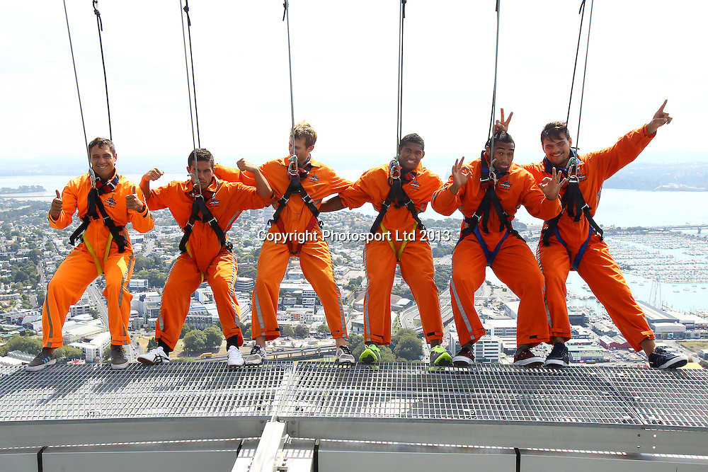 (L to R) Jackson Willison, Quentin MacDonald, Chris Noakes, Waisake Naholo, Joe Edwards and Angus Ta'avao, New members to the Blues super rugby team go for a skywalk at the Auckland Sky Tower. 28 February 2013. Photo: William Booth/photosport.co.nz