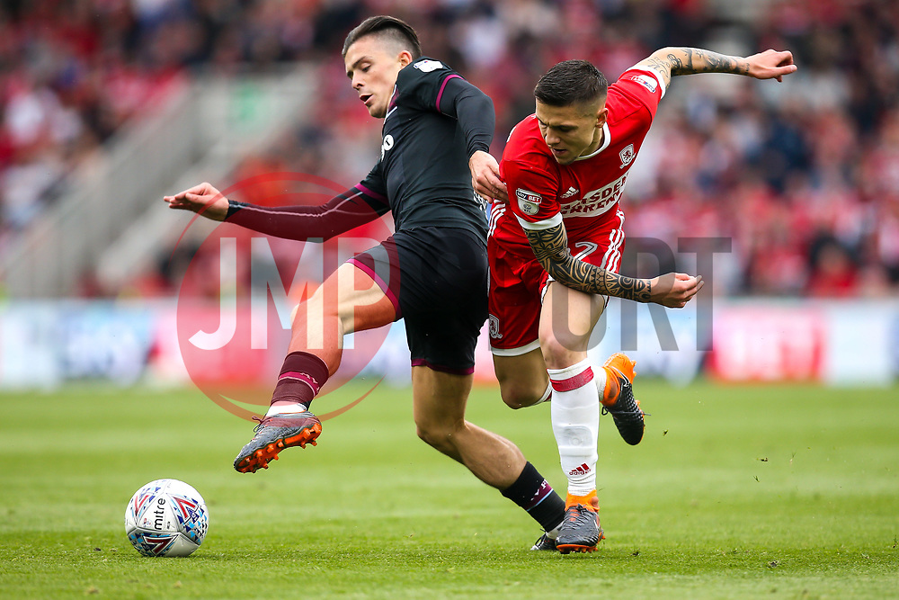 Muhamed Besic of Middlesbrough takes on Jack Grealish of Aston Villa - Mandatory by-line: Robbie Stephenson/JMP - 12/05/2018 - FOOTBALL - Riverside Stadium - Middlesbrough, England - Middlesbrough v Aston Villa - Sky Bet Championship