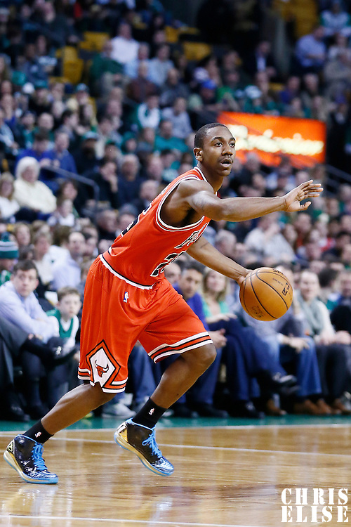 13 February 2013: Chicago Bulls point guard Marquis Teague (25) sets the offense during the Boston Celtics 71-69 victory over the Chicago Bulls at the TD Garden, Boston, Massachusetts, USA.
